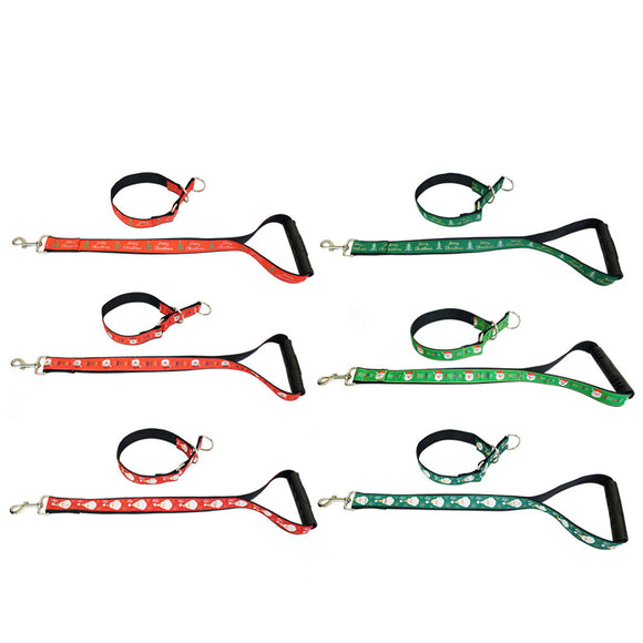 Christmas Dog Collar Lead Set Pet Collars Short Leash Traffic Leads with Handle
