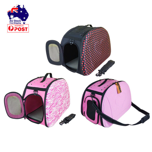 Polka Dot Foldable Pet Carrier Bag Soft Dog Crate Cat Cage Kennel Tent House