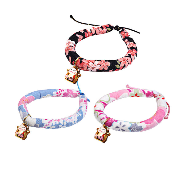Pet Kitten Cat Collar with Bell Necklace Personalised Collars Walking Japanese