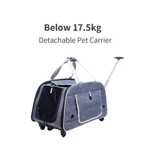 Pet Trolley Dog Travel Carrier Bag with Wheels Cat Foldable Roller Bags Portable