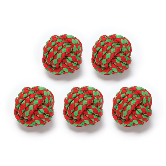 5 Pcs Christmas Dog Rope Ball Toys Chew Toy Puppy Teeth Cleaning Xmas Gift Bulk