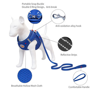 Breathable Dog Harness with Leash No Pull Adjustable Reflective Vest S M L XL