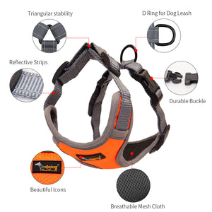 No Pull Dog Harness Rhombus Pattern Adjustable Reflective Pet Vest Waterproof