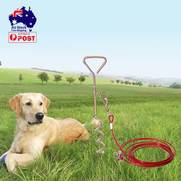 5M/10M Dog Tie Out Cable Stake Set Leash Lead Tangle Free Outdoor Yard Runing