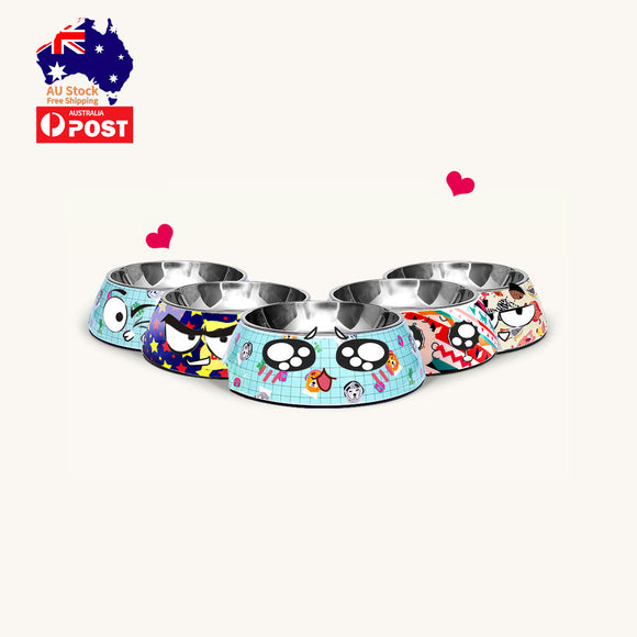 2 in 1 Pet Food Bowl Separable Water Feeder Dish Stainless Steel Dog Cat No-skid