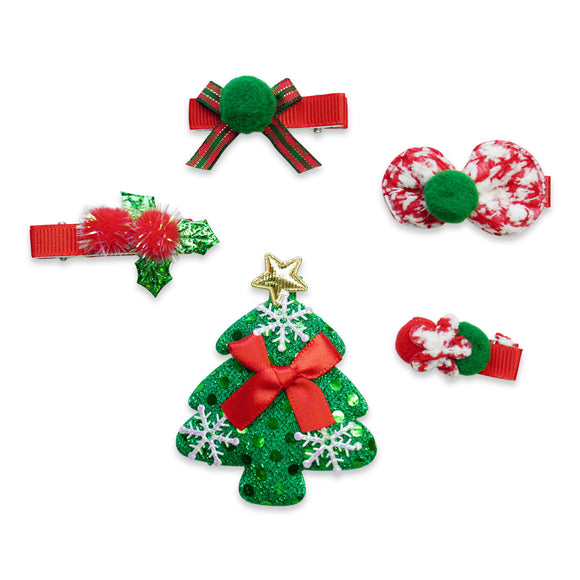 5 Pcs Christmas Santa Hairclip Hair Clips Bows Hairpin Grooming Xmas Decoration