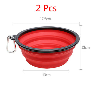 2 Pcs Collapsible Dog Bowl Dog Feeder Water Food Dish Portable Pet Dual Use