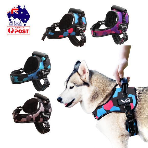 Adjustable Camo Dog Harness Heavy Duty Vest With Handle Reflective Training Pet