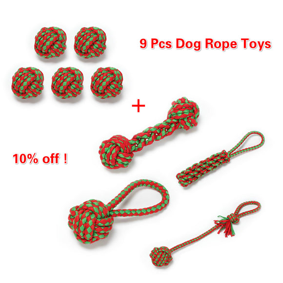 9 Pcs Christmas Rope Toys Dog Chew Toy Gift Puppy Teeth Cleaning Xmas Santa Pet