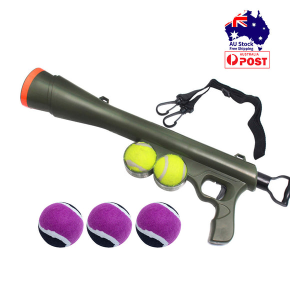 Dog Tennis Ball Thrower Launcher with 3 Balls Pet Interactive Toys Outdoor Play