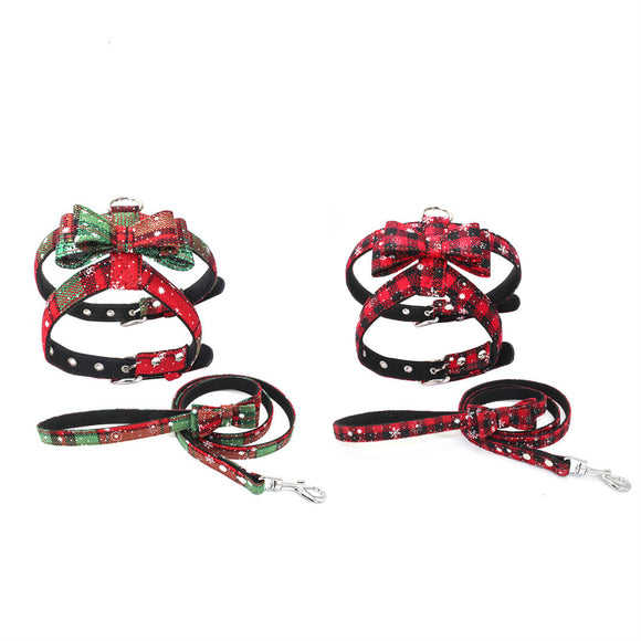 Christmas Dog Harness Leash Set Adjustable Vest Xmas Party Holiday Bowknot Pet
