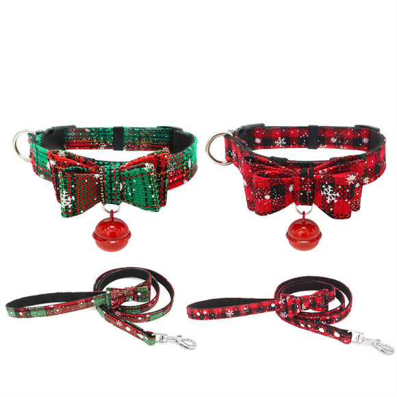 Christmas Dog Collar with Leash Set Adjustable Xmas Party Bowknot Pet Cat Bell