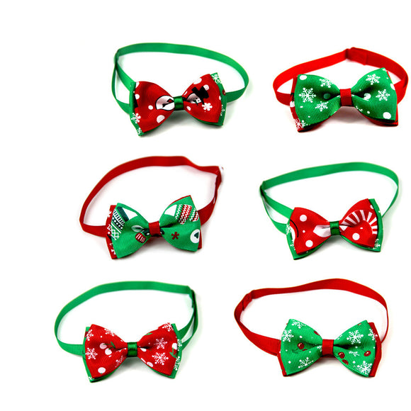 Christmas Pet Bow Tie Dog Bowtie Adjustable Collar Cat Puppy Festival Party Xmas