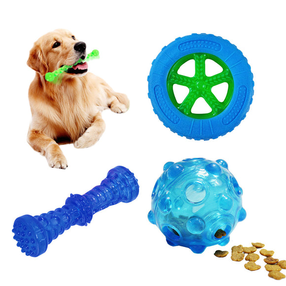 Dog Toys Set Squeaky Toy Aggressive Chewer Food Dispenser Pet Teeth Clean Play