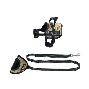 Adjustable Camo Dog Harness Leash Set Vest With Handle Reflective No Pull