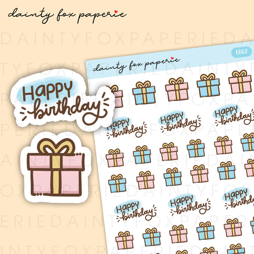 Happy Birthday, Gift Stickers | E002