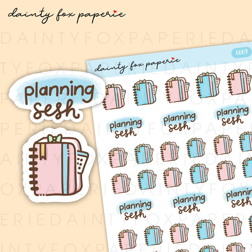 Mini Happy Planner, Planning Sesh Stickers | E009