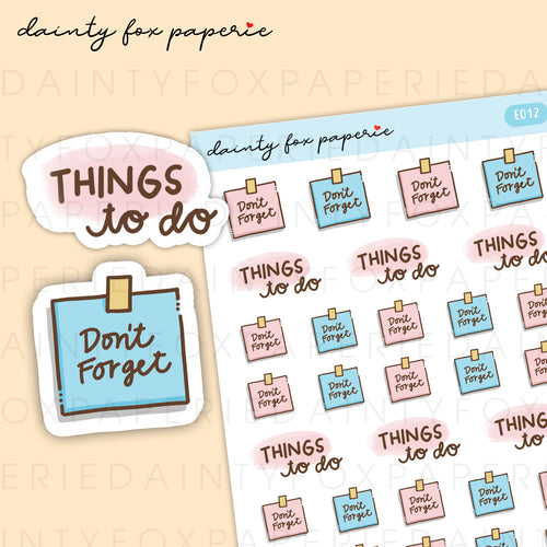 Don't Forget, Things To Do Stickers | E012