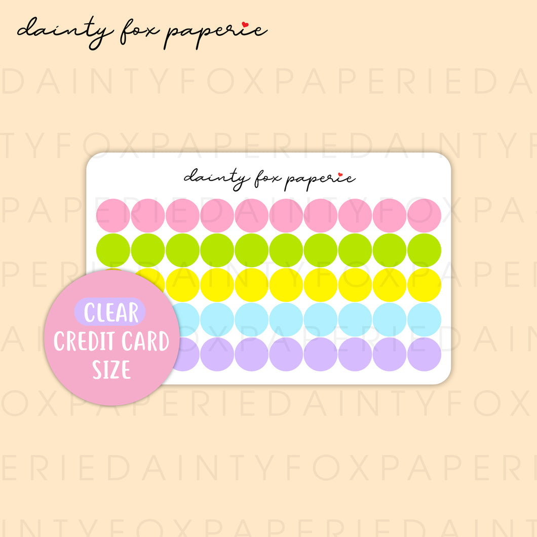 Credit Card Size - Clear Colorful Dots | E302