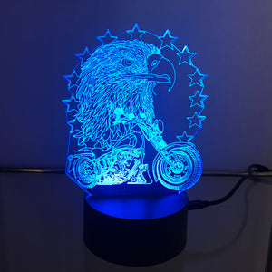 Motorcycle with Eagle and Stars 3D Light