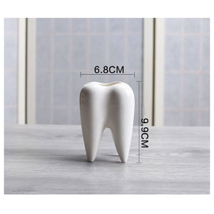 Tooth Shaped White Ceramic Pot