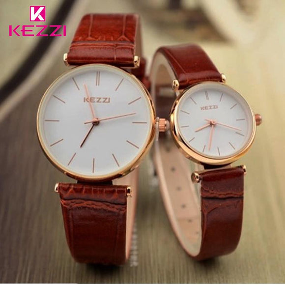 KEZZI Brand Waterproof Couples Watches Women Japan Movement  Analog Quartz Watch leather Strap Men Watches lovers Clock