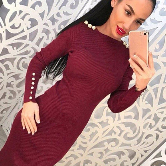 Women Sexy Bodycon Dress Autumn Knitted  Vestdos Solid Long Sleeve Package Hip Dresses