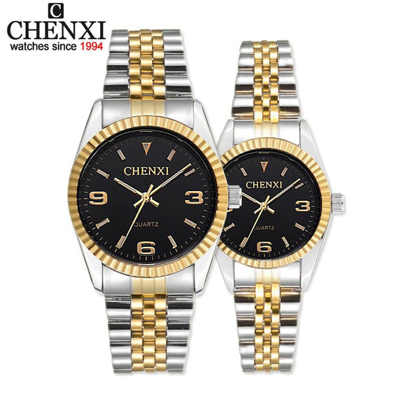 NWT Lovers watches luxury brand CHENXI Steel Band quartz watch men and women Dress watches fashion lover's gold watch women