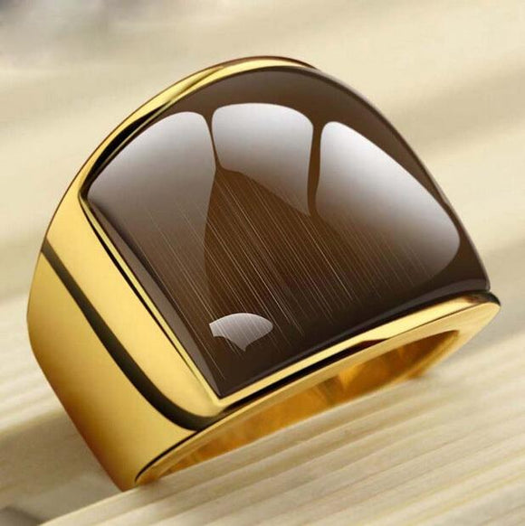 USTYLE new Fashion rings361L Stainless Steel &  Yellow  Simple Jewelry Ring With Opal For Men  UR9005Y