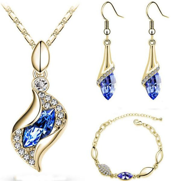 H:HYDE Top Quality Elegant luxury design new fashion colorful Austrian crystal drop Gold Chain jewelry sets women gift