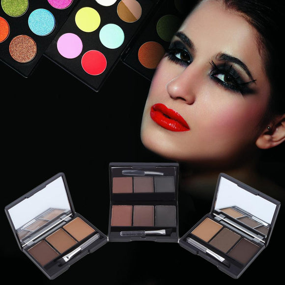 Brand New Waterproof Eyebrow Powder For Women, Eye Brow With Brush 3 Color Eyebrow Cake Makeup Palette Make Up Set Kit