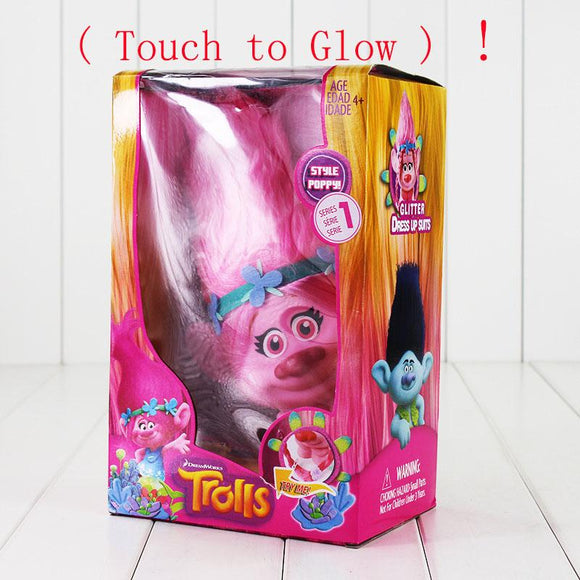 Trolls Town Poppy Branch PVC Action Figure Toys With LED Light Touch Glow Hair Up Christmas Toys For Children