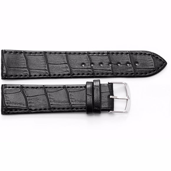 New 22 mm Black Original Genuine Leather Strap Silver Stainless Steel Buckle Wrist Men's Watch Band / WB2213