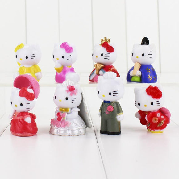 8pcs Kitty Hellokitty Figures Hello Kitty with kimono wedding dress PVC Action Figure Toys KT Cat Great Gift