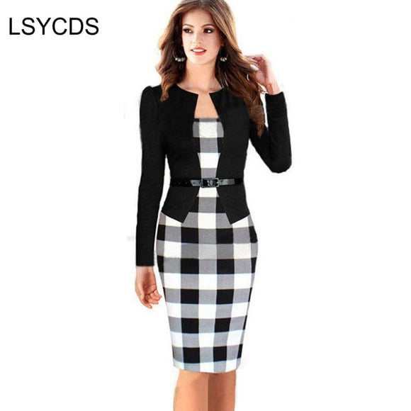 Women Dress Suits Female Elegant Business Work Formal Office Blazer Suits Full Sleeve Knee Length Pencil Dress Plus Size S-4XL