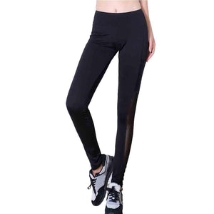 Women Yoga Pants Pocket High Waist Sexy Skinny Leggings Patchwork Mesh Push Up Yoga Pants #E5