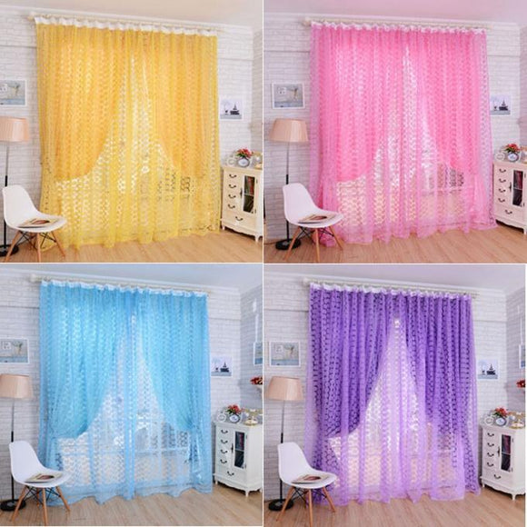 2016 New 1PC Rose Tulle Window Screens Door Balcony Curtain Panel Sheer Scarfs Free shipping&Wholesales Super Deal