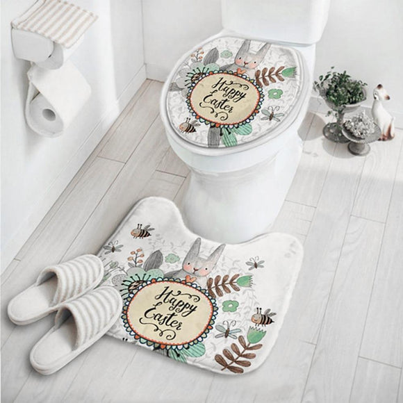 OUTAD 2 In 1 Cute Cartoon Rabbit Animal Pattern Bathroom Set Carpet Absorbent Non-Slip Pedestal Mat Rug Lid Toilet Cover Mat