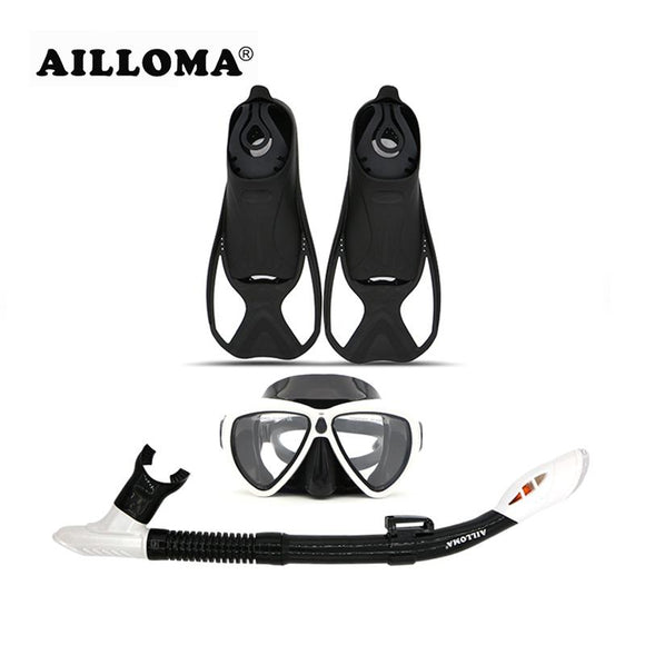 AILLOMA Diving Mask Snorkel Fins Set Adult Full Dry Tube Flipper Scuba Anti-Fog Swimming Goggles Breathing Equipment sets
