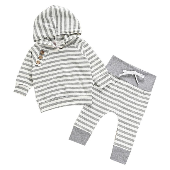 2017 Baby Clothing Sets Autumn Baby Boys Clothes Infant Baby Striped Tops T-shirt+Pants Leggings 2pcs Outfits Set