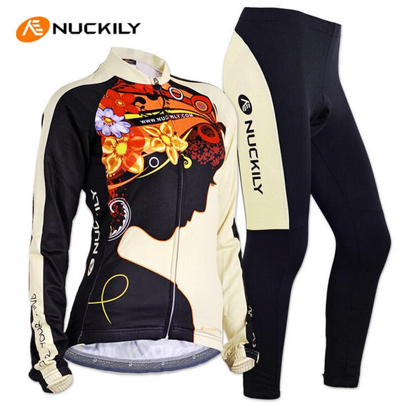 NUCKILY Women Cycling Jersey Set Long Sleeve Jacket Tight Pants Sport Jerseys Roupa Feminina MTB Bike Bicycle Cycling Clothing