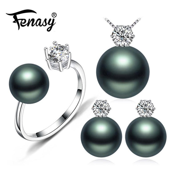 FENASY Pearl Jewelry Brand wedding engagement jewelry sets Natural Pearl pendant Necklace women/stud Earrings,crown ring femle