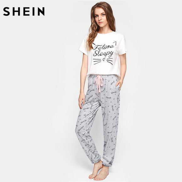 SHEIN Cat Pattern Print Round Neck Short Sleeve Top and Pants Pajama Set Cute Summer Sleepwear Pajamas for Women
