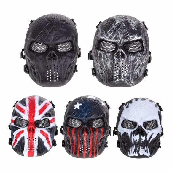 Airsoft Paintball Mask Skull Full Face Mask Army Games Outdoor Metal Mesh Eye Shield Costume for Halloween Party Supplies