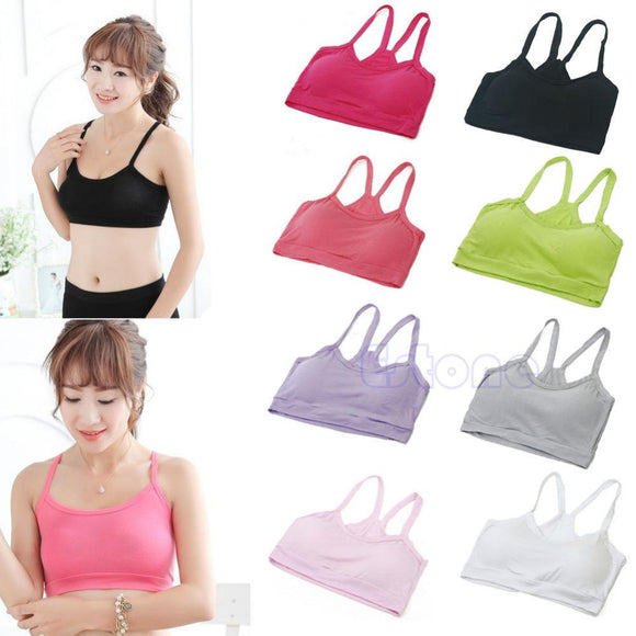 Women Seamless Cotton Tight Strap TankVest Spor t Bra Wrap Chest Solid Crop Top