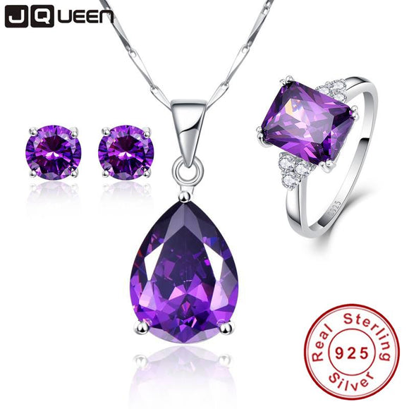 3PCS/Set Promotion Price High Grade Amethyst Engagement Bridal Jewelry Sets Silver Necklace with Stud Earrings & Wedding Bands