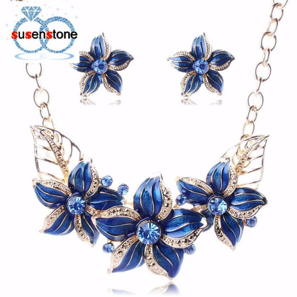 Jewelry Set Flower necklace set exaggerated clavicle Women's Elegant Vintage Flower Necklace Statement Earrings #GH30