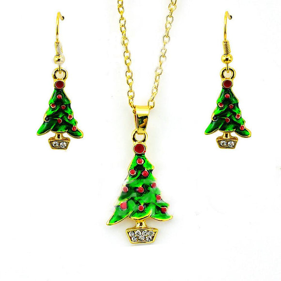 Fashion Green Enamel Christmas Tree Necklace Earring Sets Women's Fashion Long Earrings Necklace set Christmas stocking #45