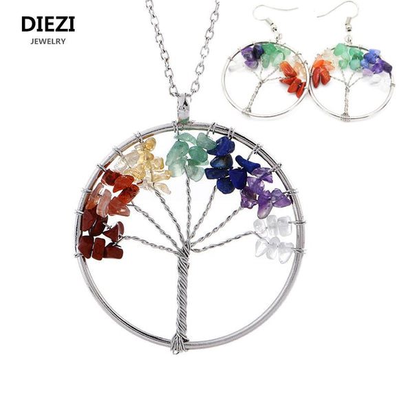DIEZI Fashion Yoga Energy Jewelry Sets Natural Stone Beads 7 Chakra Healing Balance Tree Necklaces Earrings Women Jewelry