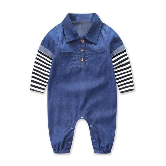 2017 Baby Boys jeans jumpsuit spring baby boys Clothes Denim long sleeve romper Turn-down Collar boys jumpsuit outfits One piece